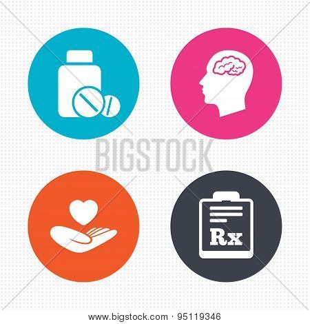 Medicine Icons Tablets Bottle Brain Rx Poster Id95119346