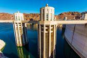 foto of dam  - Hoover Dam Intake Towers Closeup - JPG