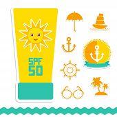 stock photo of anchor  - Set of summer vacation beach - JPG