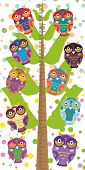 pic of measuring height  - Big tree with green branches and fun colored owls on white background Children height meter wall sticker kids measure - JPG