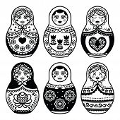 ������, ������: Matryoshka Russian doll icons set