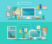 stock photo of programmers  - Workspace horizontal banner set with programmer and development elements isolated vector illustration - JPG