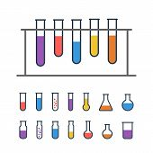 picture of experiments  - Chemical Test tube rack with flasks - JPG