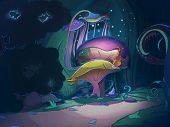 picture of fairies  - Colorful big magic mushrooms in the forest at night - JPG