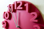 picture of midnight  - Red clock showing five to midnight on the face - JPG