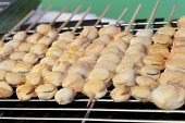 picture of scallops  - Grilled Scallops of delicious at the market - JPG