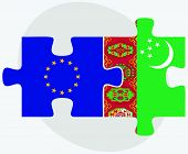 pic of turkmenistan  - European Union and Turkmenistan Flags in puzzle isolated on white background - JPG