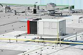 stock photo of ventilator  - Industrial air conditioning and ventilation systems on a roof - JPG