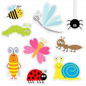pic of cockroach  - Cute cartoon insect sticker set - JPG