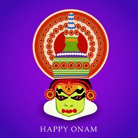 picture of onam festival  - illustration South Indian festival Onam wishes background with Kathakali dancer decorated beautiful face - JPG