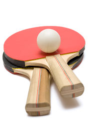 picture of ping pong  - red and black ping pong paddles with ball isolated on white - JPG