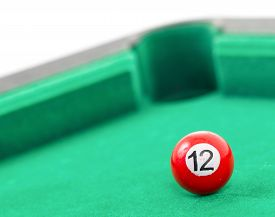 image of snooker  - Snooker balls on a green snooker table - JPG