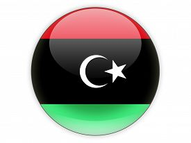 stock photo of libya  - Round icon with flag of libya isolated on white - JPG