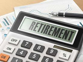 stock photo of retirement  - calculator with the word retirement on the display - JPG