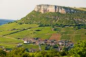 environment of La Roche de Solutre with vineyards, Burgundy, France