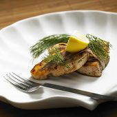 foto of rapier  - swordfish steak with anchovies - JPG