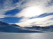 Artistic Sky Over The Moutains And The Snow, Tignes, The French Alps, France