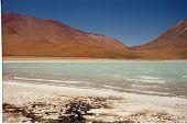 Coloured Laguna At Four Thousand Meter High, Uyuni Plateau Desert, Bolivia