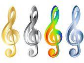 Four 3d treble clef vector illustration