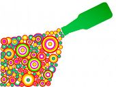 Green bottle upside-down vector illustration