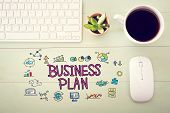 Business Plan Concept With Workstation poster