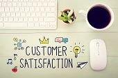 Customer Satisfaction Concept With Workstation poster
