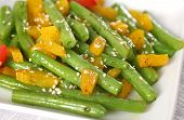 stock photo of green bean  - Stir fried green beans and fresh yellow pepper - JPG