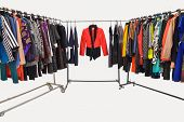 different clothes for females rack display-white background poster