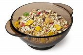 Dry Cereal In A Black Bowl
