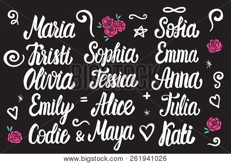 Set Of Female Names Lettering