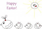 Happy Easter! Chicken's family. Children's drawings