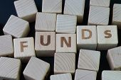 Mutual Funds, Investment Asset Selection By Performance Concept, Cube Wooden Block With Alphabet Com poster