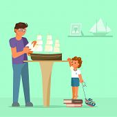 Father Making Model Of Sailboat And His Son Watching Him. Vector Illustration In Flat Style. Scale M poster