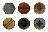 Old Rusty Bolts Screw. Hardware Rust Metal Texture For Different Iron Tools. Vector Realistic Pictur poster