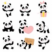 Cute Baby Pandas. Toy Animals Chinese Symbols Panda Bear Adorable Funny Baby Mascot Vector Character poster