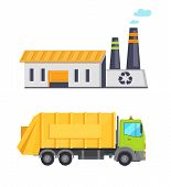 Garbage Infographic Elements, Truck Transporting Waste To Building With Recycle Sign, Conservation O poster