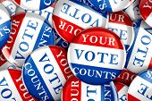 Vote buttons with Your Vote Counts - 3d rendering poster