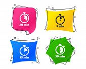 Timer Icons. 5, 15, 20 And 30 Minutes Stopwatch Symbols. Geometric Colorful Tags. Banners With Flat  poster