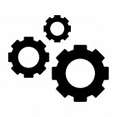 Three Gears Solid Icon. Cogwheels Vector Illustration Isolated On White. Cogs Glyph Style Design, De poster