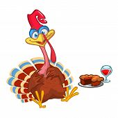 Thanksgiving Cartoon Turkey Bird With A Pie And Wine. Vector Illustration Of Funny Turkey Character  poster