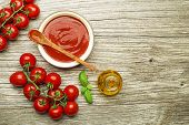 Fresh Tomatoes And Ingredients For Cooking Tomato Sauce Or Soup On Wooden Background Place For Text. poster