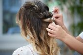 Closeup Of Wonderful Trendy Hairstyle Made In Beauty Salon. Hands Of Professional Female Hairdresser poster