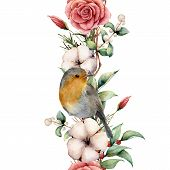 Watercolor Vertical Border With Robin And Flowers. Hand Painted Tree Border, Cotton, Branch, Dahlia, poster