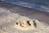 Sand Castle On Beach In Sunlight. Tropical Seaside Landscape With White Sand Beach. Beach Day Activi poster