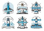 Lighthouse And Nautical Adventure Icons. Rudder Wheel And Seagulls, Marine Beacon Signal Tower On Cl poster