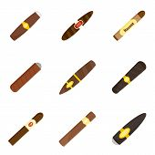 Cigar Cuban Paper Weed Cigarette Icons Set. Flat Illustration Of 9 Cigar Cuban Paper Weed Cigarette  poster