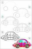 Page Shows How To Learn Step By Step To Draw Car. Developing Children Skills For Drawing And Colorin poster