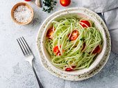 Zucchini Noodles Salad With Cherry Tomatoes. Vegetable Noodles - Green Zoodles Or Courgette Spaghett poster