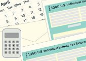 2019, 2018 Tax Form 1040 And The Envelope, A Calendar And Calculator. Tax Day On April 17. The Calen poster