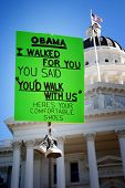 SACRAMENTO, CA - FEBRUARY 26: Protest sign at the California State Capitol recalls President Barack Obama's promise to